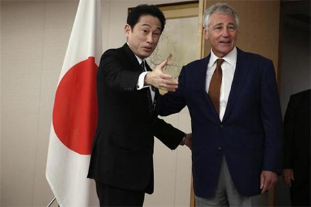 U.S. Secretary of Defence Chuck Hagel (R) meets with Japan's Foreign Affairs Minister Fumio Kishida at the Japanese Ministry of Foreign Affairs headquarters in Tokyo April 6, 2014