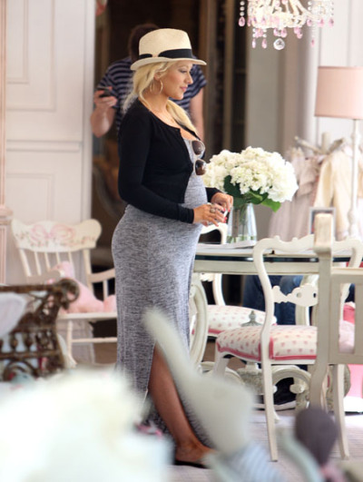 EXCLUSIVE: A visibly pregnant Christina Aguilera along with fiancŽ Matthew Rutler and a friend go shopping for baby furniture at AFK in Beverly Hills, CA