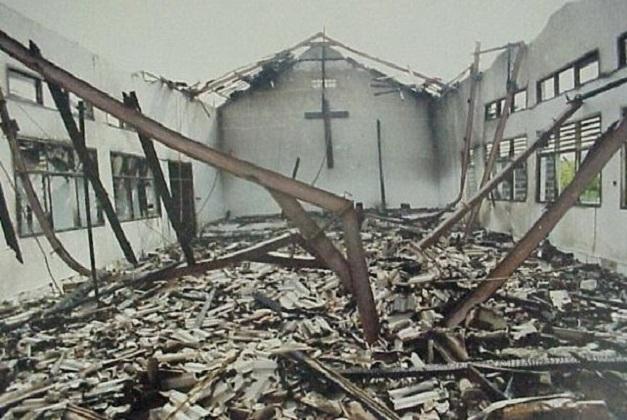 Christian Church Burned 1
