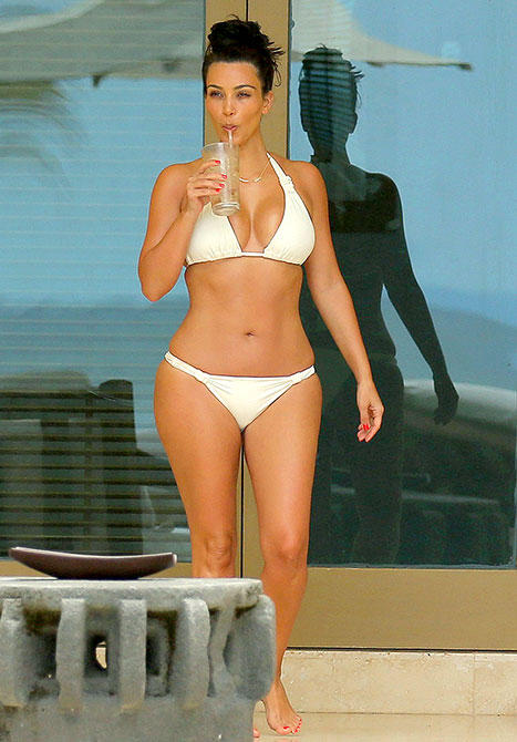 Kim Kardashian Rocks Sexy White Bikini on Second Honeymoon With Kanye West in Mexico [Photos]