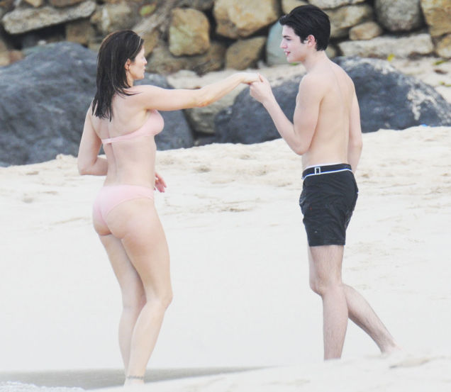 Mother (Stephanie Seymour) Caught by the Cameras Kissing her Son (Peter Brant II) on the Lips at the Beach while in Bikini