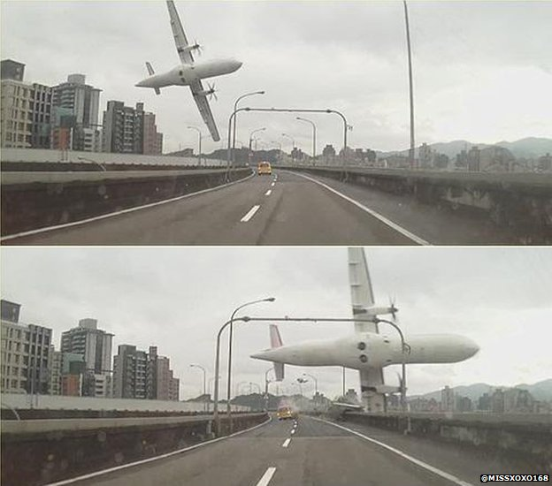 TransAsia crash: Dashcam Video Shows the Crashing of Taiwan Passenger Plane into Taiwan River where 19 are dead, 15 injured, 24 awaiting rescue