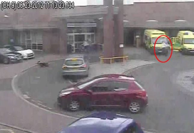 Carl Cope (L) collapses outside the A&E at Walsall Manor Hospital - Paramedic Matt Geary can be seen (White Shirt).  The final moments of Bloxwich man Carl Cope have been released as a paramedic is sentenced for health and safety offences for failing to examine or resuscitate him.  See NTI story NTIDEAD.  CCTV footage shows the shocking lack of care shown by Matt Geary ø who stands with his hands in his pockets - as Carl dies of a heart attack right in front of him.  Geary and his colleague were called when Carl dialled 999 after collapsing on a grass verge on Hawbush Road ø not far from his home address ø at around 10.15am on 23 June 2012.  Geary ø who was responsible for determining the course of treatment for Carl ø took him to Walsall Manor Hospital accident and emergency department.  Footage from the hospital waiting room shows Carl struggling to make himself comfortable and visibly in a lot of pain. After seven minutes, he goes to a nearby shop to get a drink.  On his way back through the car park ø in full view of Geary who is sat inside his ambulance ø Carl is seen collapsing outside the hospital doors.  Geary (pictured below) watches from the ambulance as Carl remains on the ground for more than 30 seconds.  Struggling to his feet, Carl only manages a few steps before collapsing for a second - and last - time.  Geary, fully aware he brought Carl to the hospital suffering from chest pains, is finally seen on CCTV going to his patient.  He takes no equipment with him and stands over Carl, with his hands in his pockets, talking to him for two minutes. Geary takes a closer look at Carl and then wrongly asks the hospital security to deal with him, before returning to his ambulance.  When the security guard is seen arriving five minutes later, Carl Cope did not appear to be showing any signs of life.  A post mortem revealed Carl (pictured right) died of a heart attack.