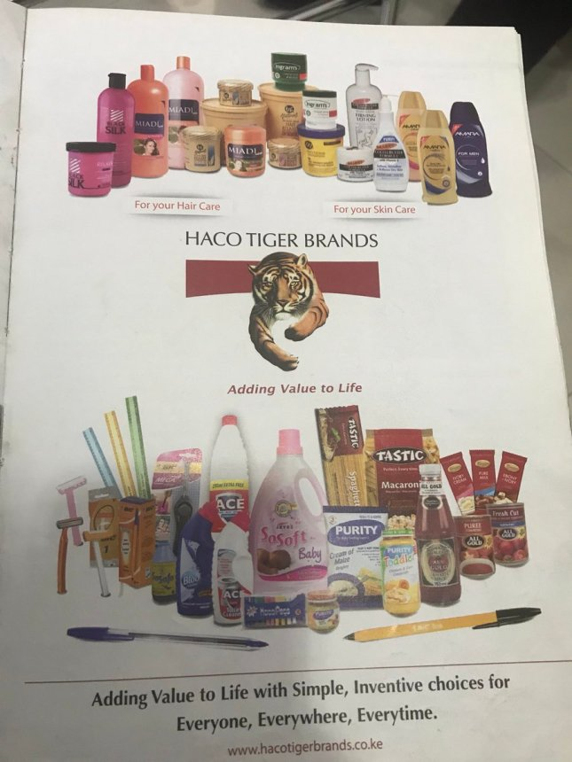 Haco Tiger brands, associated with Chris Kirubi